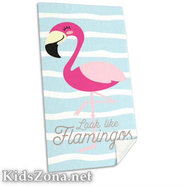 Детска хавлия за плаж Фламинго