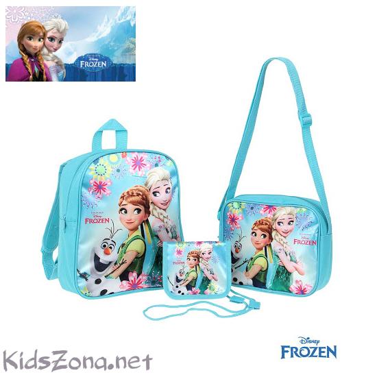 Детски комплект Frozen - раница, чанта и портмоне